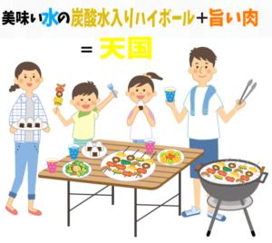 美味しい水の炭酸水入りハイボールと旨い肉を食べて天国気分を味わっている家族